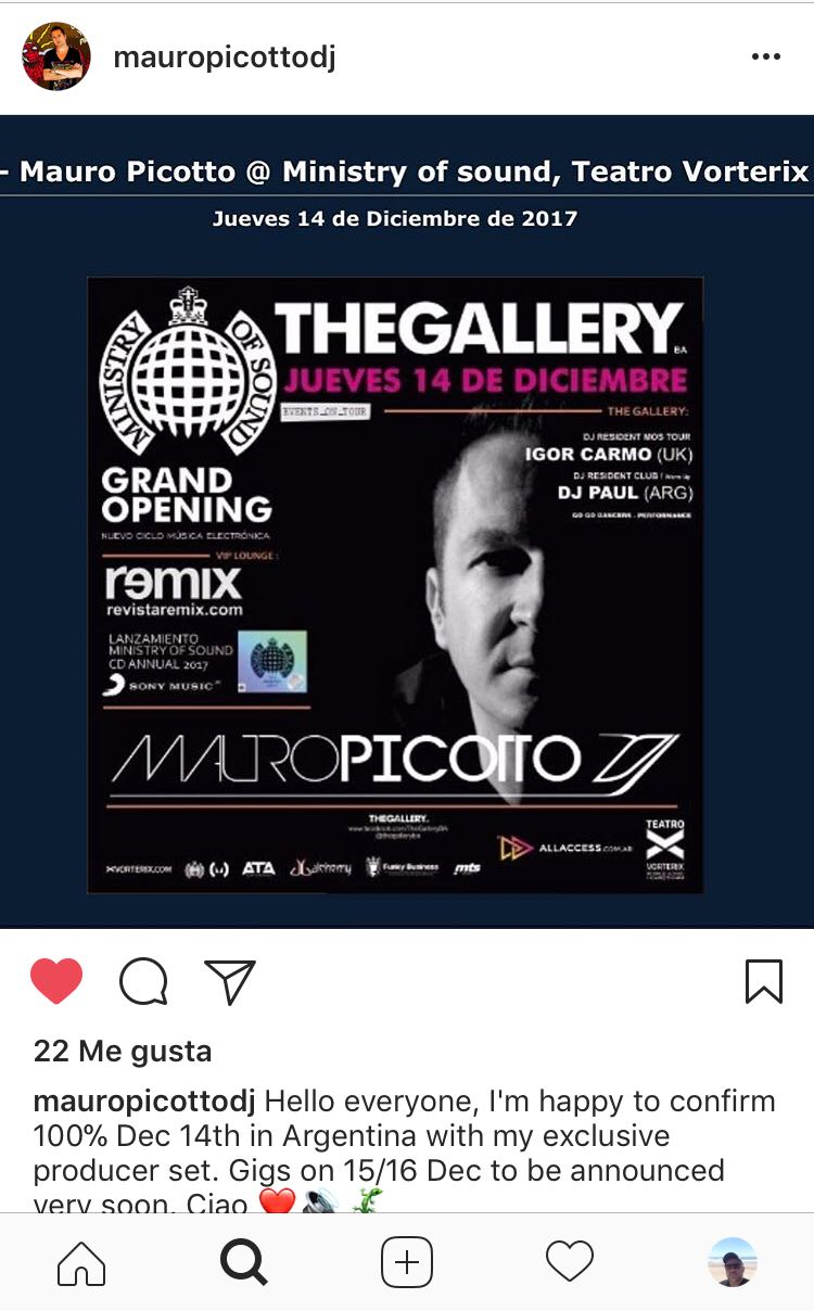 Jueves 14.12.17 - Mauro Picotto @ Ministry of sound, Teatro Vorterix